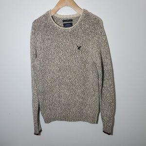 AEO Men's Beige Tan Knit Sweater Pullover SZ XS